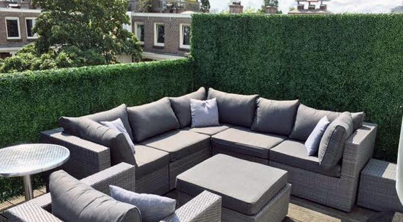 Buxus kunsthaag als terrasscherm